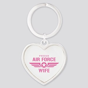 Proud Air Force Wife W [pink] Heart Keychain